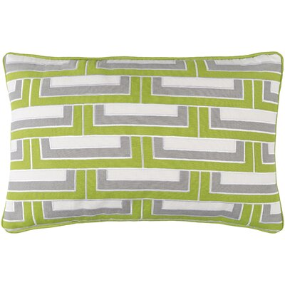 Balard Linen Lumbar Pillow Color: Lime/Ivory/Gray/Ivory