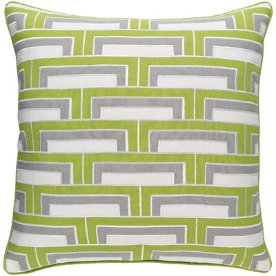 Melton Linen Throw Pillow Size: 18 H x 18 W x 4 D, Color: Lime/Ivory/Gray/Ivory