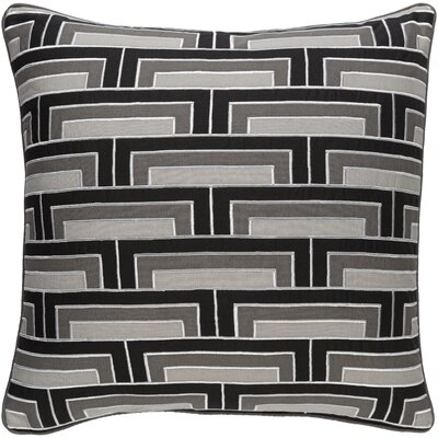Balard Linen Throw Pillow Size: 20 H x 20 W x 4 D, Color: Black/Gray/Ivory