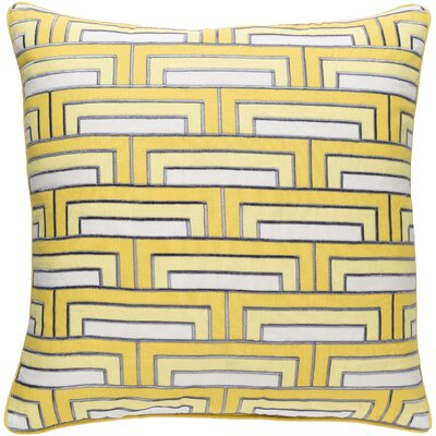 Balard Linen Square Throw Pillow Size: 22 H x 22 W x 4 D, Color: Sunflower/Ivory/Charcoal
