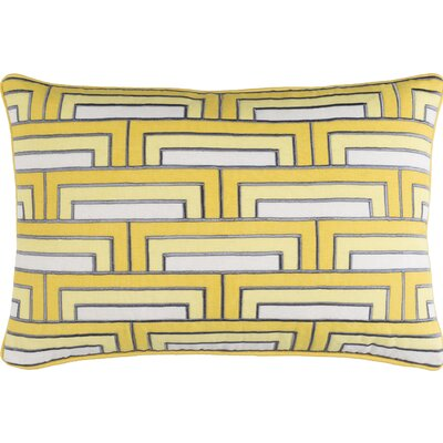 Balard Linen Lumbar Pillow Color: Sunflower/Ivory/Charcoal