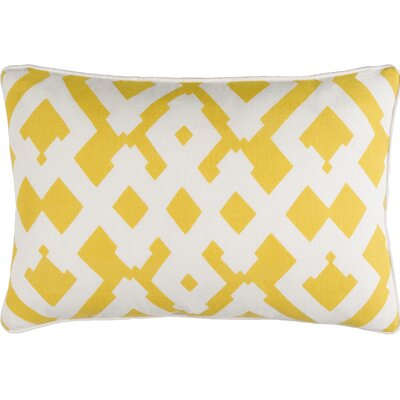 Belford Large Zig Zag Square Linen Throw Pillow Size: 18 H x 18 W x 4 D, Color: Sunflower/Ivory