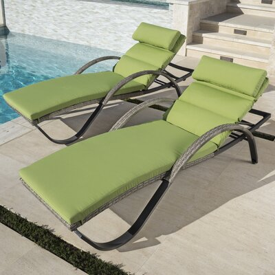 Alfonso Outdoor Chaise Lounge Cushion Set Fabric: Gingko Green