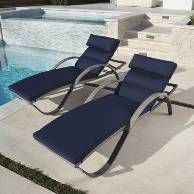 Alfonso Outdoor Chaise Lounge Cushion Set Fabric: Navy