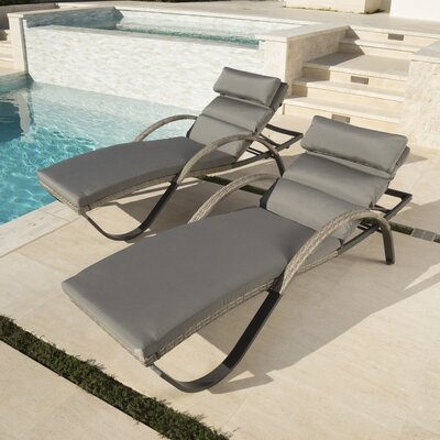 Alfonso Outdoor Chaise Lounge Cushion Set Fabric: Charcoal Grey