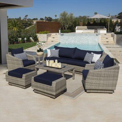 Monaco 8 Piece Deep Seating Group with Cushion Fabric: Navy