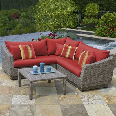 Alfonso Corner 4 Piece Sectional Seating Group with Cushions Fabric: Sunset Red