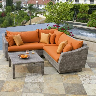 Alfonso Corner 4 Piece Sectional Seating Group with Cushions Fabric: Tikka Orange