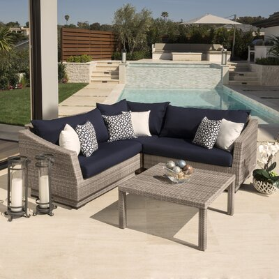 Alfonso Corner 4 Piece Sectional Seating Group with Cushions Fabric: Navy