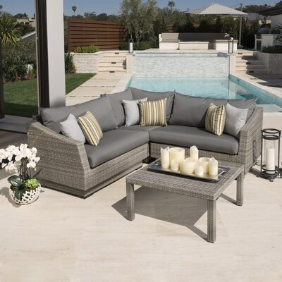 Alfonso Corner 4 Piece Sectional Seating Group with Cushions Fabric: Charcoal Grey