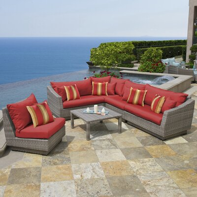 Alfonso Corner 6 Piece Sectional Seating Group with Cushions Fabric: Sunset Red