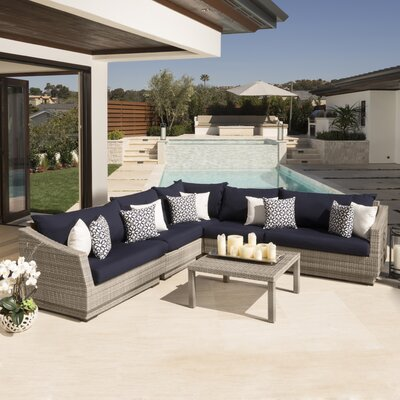 Alfonso Corner 6 Piece Sectional Seating Group with Cushions Fabric: Navy
