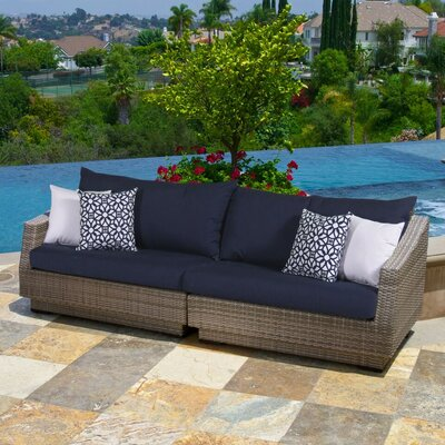 Alfonso 2 Piece Sofa with Cushions Fabric: Navy