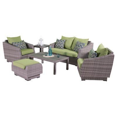Alfonso Love and Club 6 Piece Deep Seating Group with Cushion Fabric: Ginkgo Green