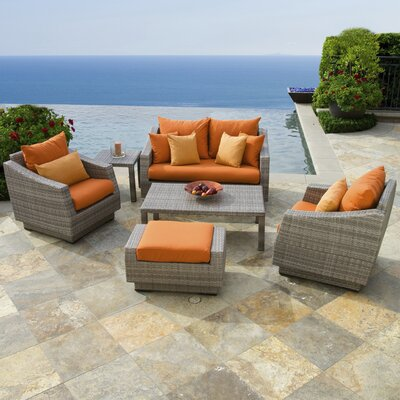 Alfonso Love and Club 6 Piece Deep Seating Group with Cushion Fabric: Tikka Orange