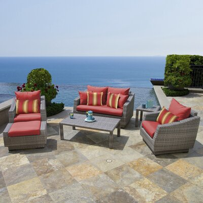 Alfonso Love and Club 6 Piece Deep Seating Group with Cushion Fabric: Sunset Red