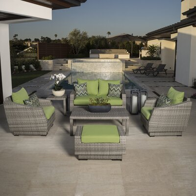 Alfonso Love and Club 6 Piece Deep Seating Group with Cushion Fabric: Charcoal Grey