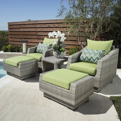 Alfonso 5 Piece Seating Group with Cushions Fabric: Ginkgo Green