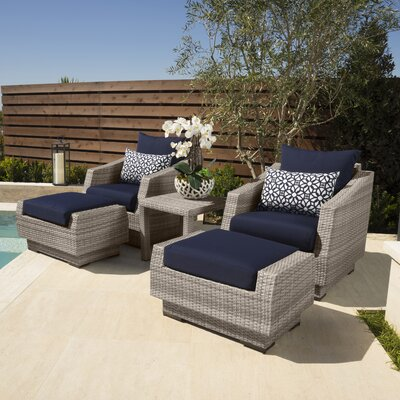 Alfonso 5 Piece Seating Group with Cushions Fabric: Navy