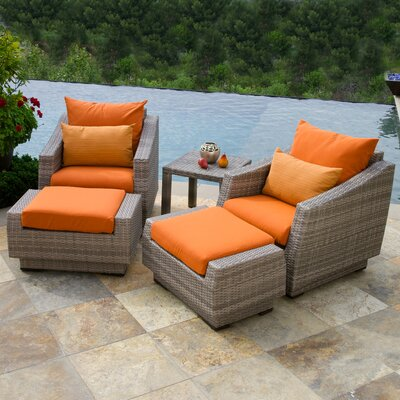 Alfonso 5 Piece Seating Group with Cushions Fabric: Tikka Orange