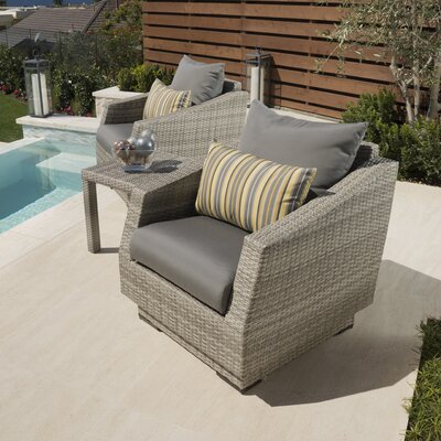Alfonso 3 Piece Deep Seating Group with Cushion Fabric: Charcoal Gray