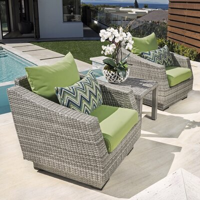 Alfonso 3 Piece Deep Seating Group with Cushion Fabric: Gingko Green