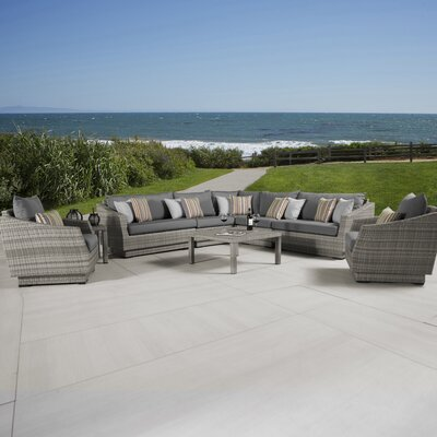 Alfonso 9 Piece Seating Group with Cushions Fabric: Charcoal Grey