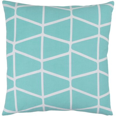 Ochoa Cotton Throw Pillow Size: 22 H x 22 W x 4 D, Color: Aqua / Ivory