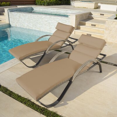 Alfonso Outdoor Chaise Lounge Cushion Set Fabric: Delano Beige