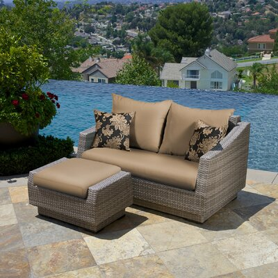 Alfonso Loveseat and Ottoman with Cushions Fabric: Delano Beige