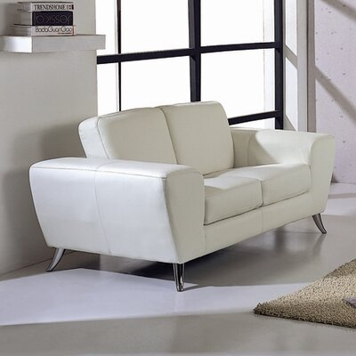 Alonso Leather Loveseat Upholstery: White