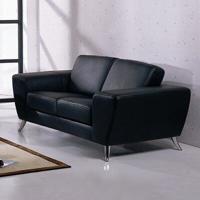 Alonso Leather Loveseat Upholstery: Black