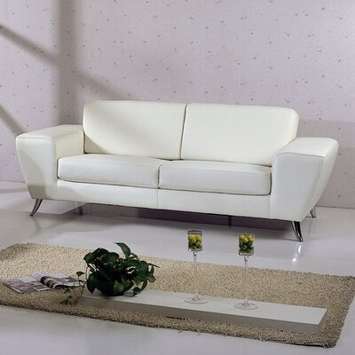 Alonso Leather Sofa Upholstery: White