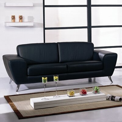 Alonso Leather Sofa Upholstery: Black