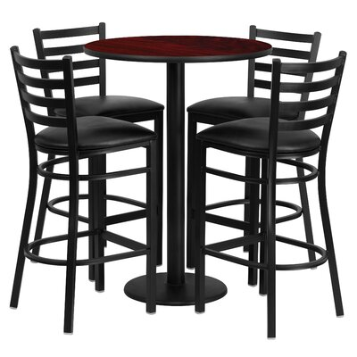 5 Piece Pub Height Dining Set Color: Mahogany