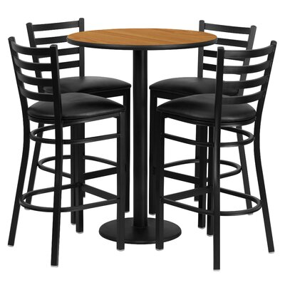 5 Piece Pub Height Dining Set Color: Natural
