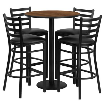 5 Piece Pub Height Dining Set Finish: Walnut