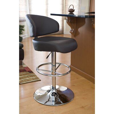 Radstock Adjustable Height Swivel Bar Stool Upholstery: Brown