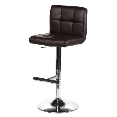 Romeo Adjustable Height Swivel Bar Stool Upholstery: Black