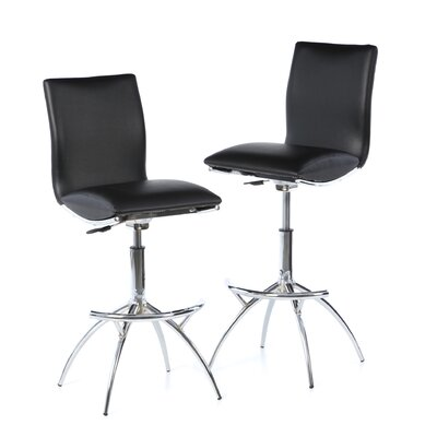 Shen Adjustable Height Swivel Bar Stool (Set of 2) Upholstery: Black