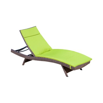 Claverton Down Outdoor Chaise Lounge Cushion Fabric: Green