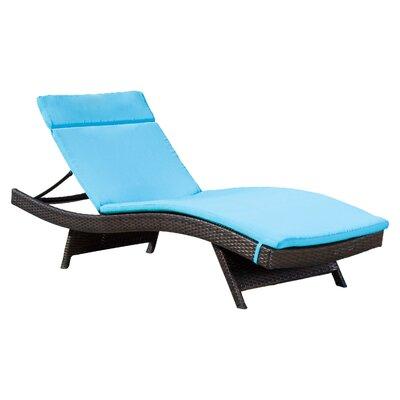 Claverton Down Outdoor Chaise Lounge Cushion Fabric: Blue