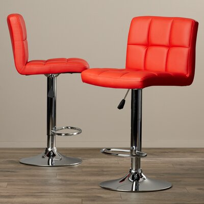 Taylor Adjustable Height Swivel Bar Stool Upholstery: Red