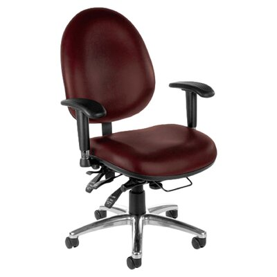 Computer Mid Back Conference Chair Seatback Material Wine Vinyl Product Photo