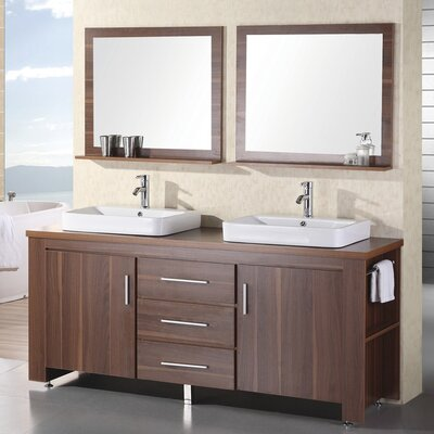 Blaser 72 Double Bathroom Vanity Set with Mirror Base Finish: Toffee