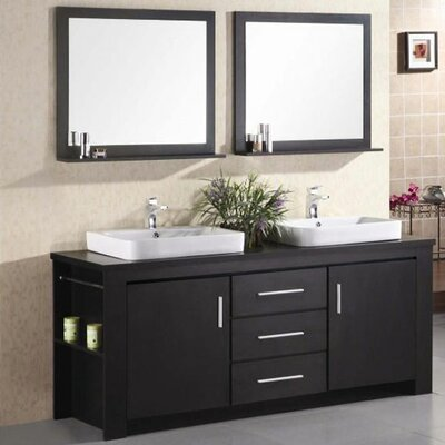 Blaser 72 Double Bathroom Vanity Set with Mirror Base Finish: Espresso