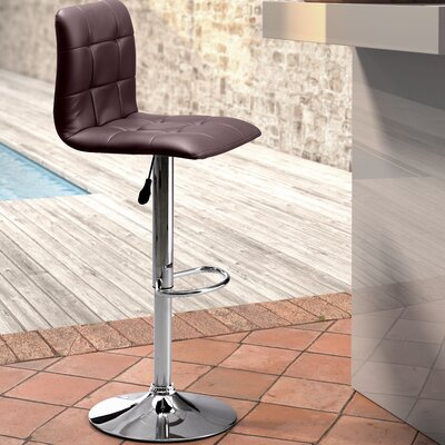 Galvan Adjustable Height Bar Stool Upholstery: Espresso