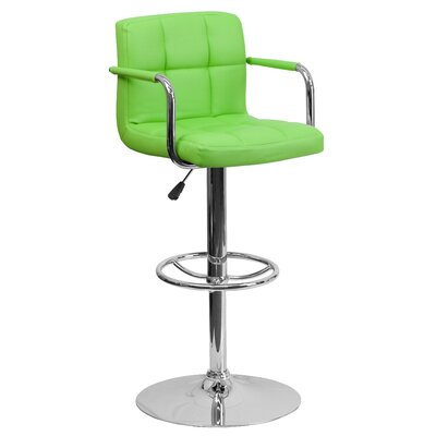 Compton Martin Adjustable Height Swivel Bar Stool with Cushion Upholstery: Green