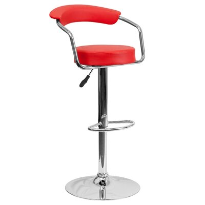 Adjustable Height Swivel Metal Bar Stool (Set of 2) Upholstery: Red