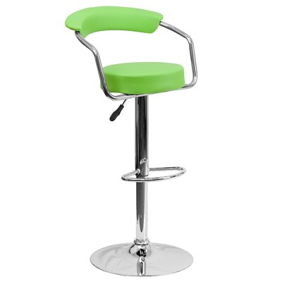 Adjustable Height Swivel Metal Bar Stool (Set of 2) Upholstery: Green